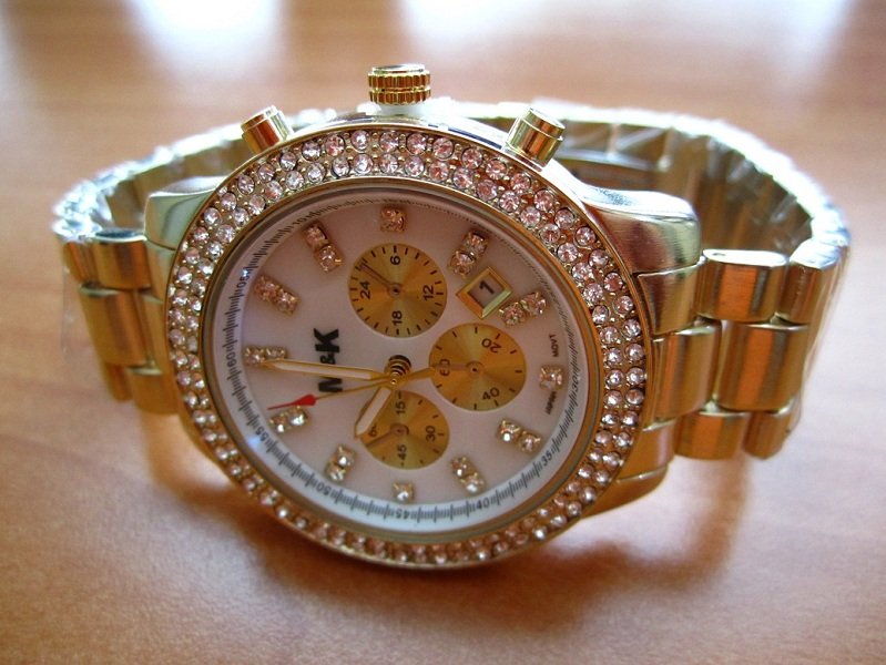 M&K Gold Date Glitz Watch - Mother of Pearl Dial
