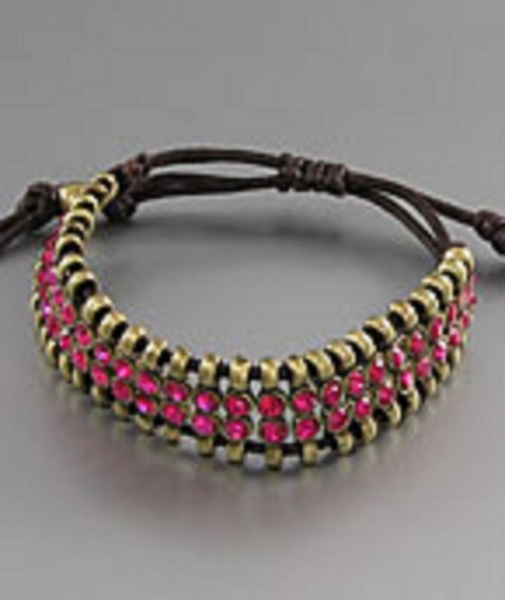 Nariva Antique Gold Adjustable Flat Style Bracelet - More Colors