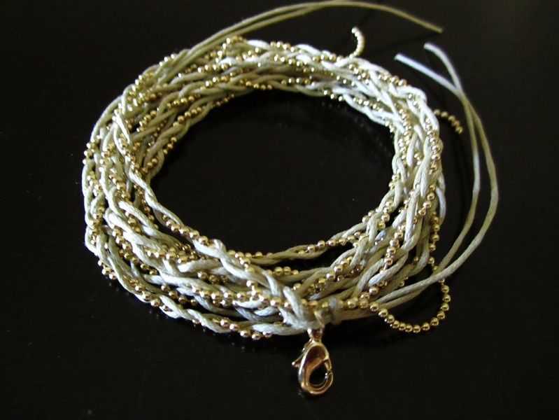 Fio String Weave Bead Chain Wrap Bracelet or Necklace - Click Image to Close