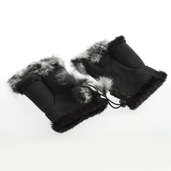 Suede and Fur Lined Fingerless Gloves - More Colors