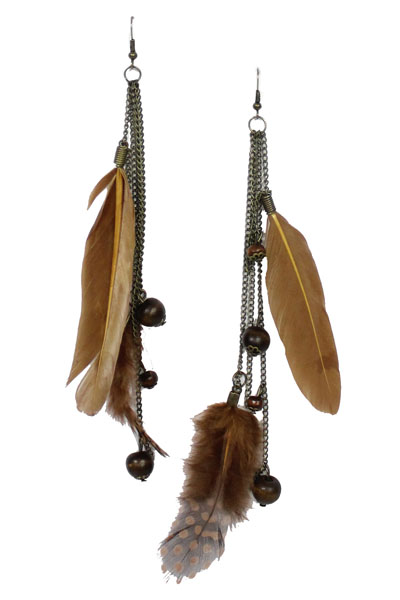 Domino Dots Feather Earrings - More Colors