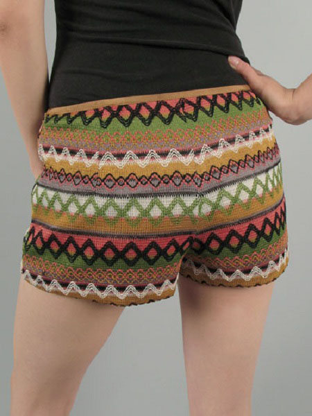 Avery Low Rise Embroidered Knit Shorts