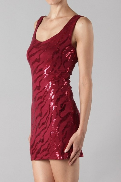 Katy Sequin Fitted Dress - Red