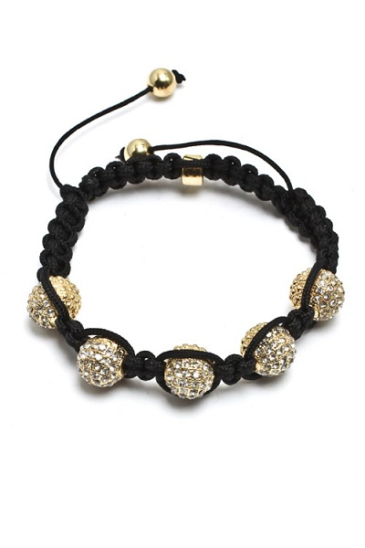 Enlightened 5 Bead Shamballa Macrame Bracelet Black Cord