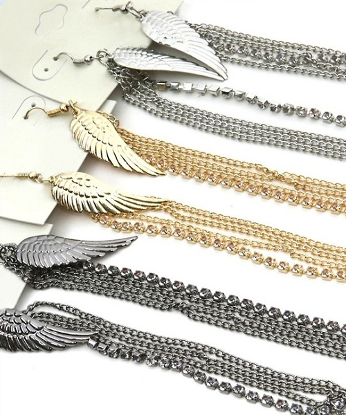Fauna Angel Wing and Crystal Earlace Earrings - More Colors