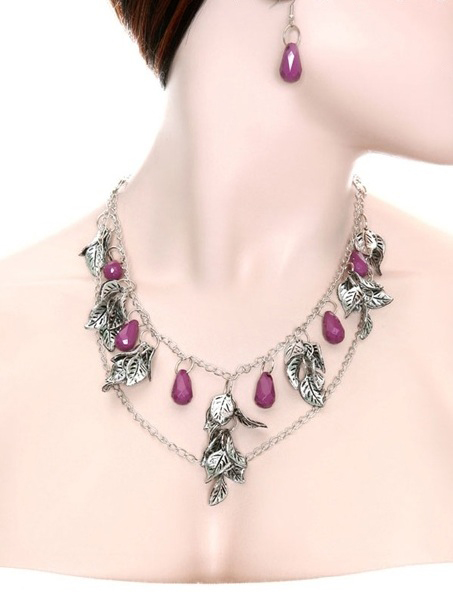 Petra Leaves and Gemstone Necklace and Earring Set - More Colors