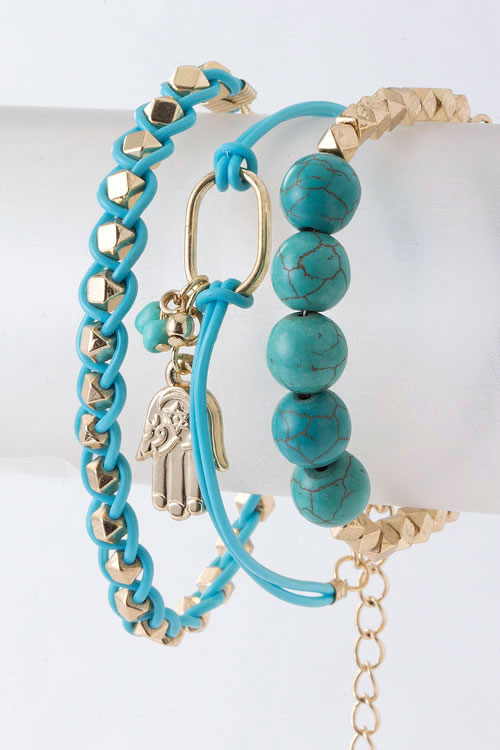 Hamsa Triple Bracelet Set - More Colors