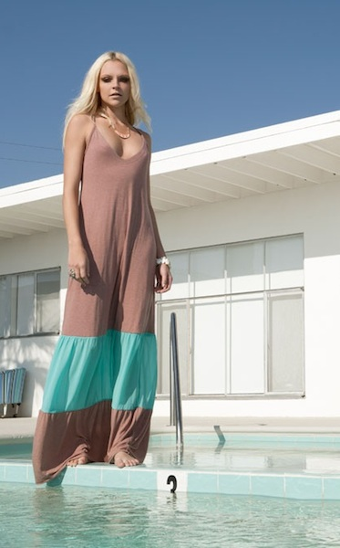 Color Block Maxi Dress - Teal/Clay