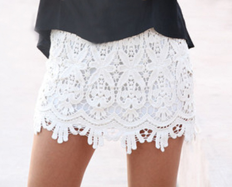 Sydney Lace Mini Skirt - Ivory - Click Image to Close
