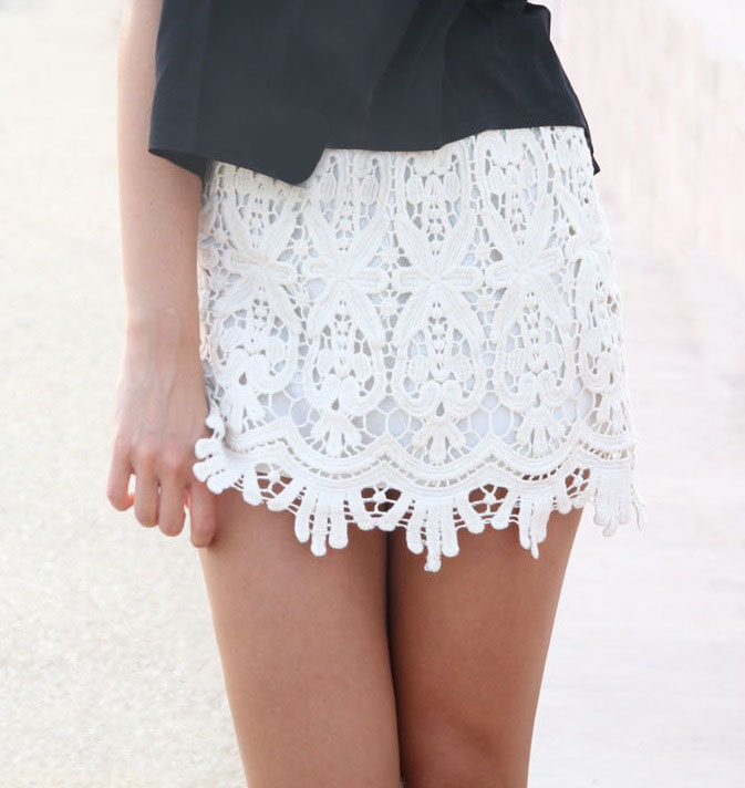 Lace Mini Skirt - Skirts