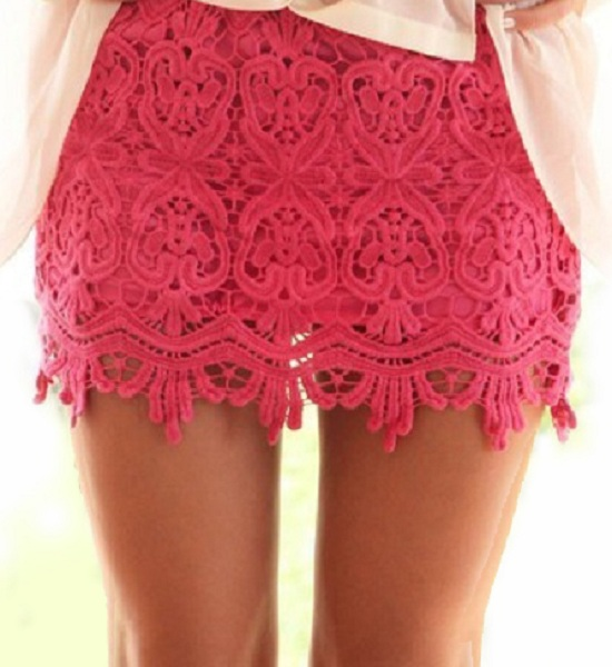 Sydney Lace Mini Skirt - Pink - Click Image to Close