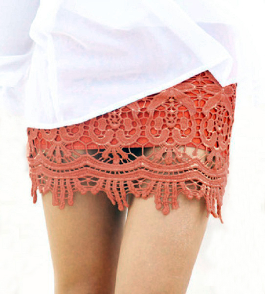 Sydney Lace Mini Skirt - Rust