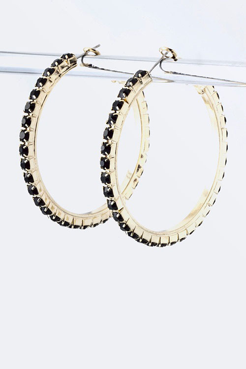 Arco Crystal Hoop Earrings More Colors Ava Adorn Apparel and