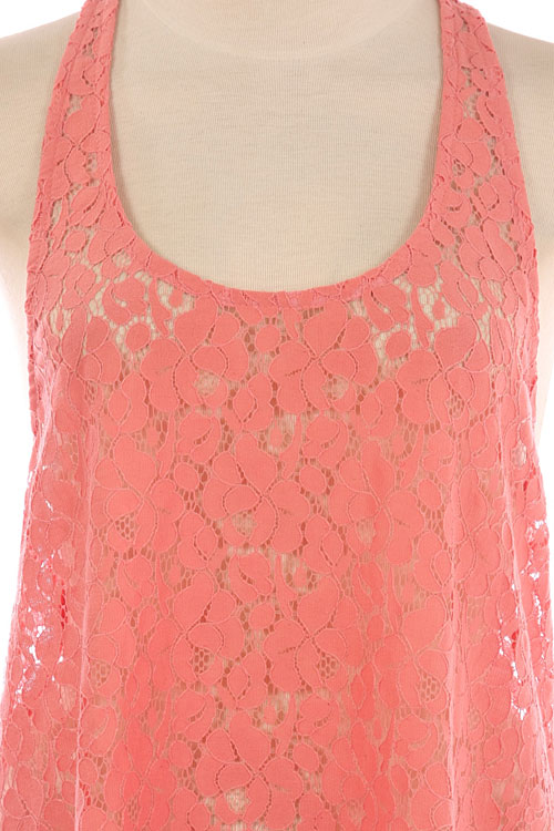 Life's a Peach Lace Racerback Top