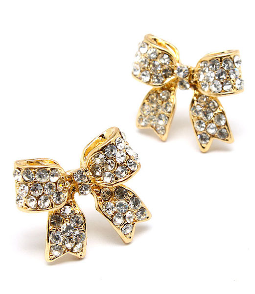 Crystal Bow Post Earrings - Gold