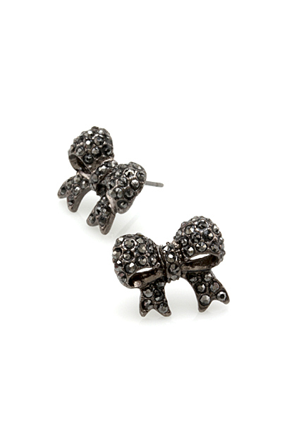 Crystal Bow Post Earrings - Hematite
