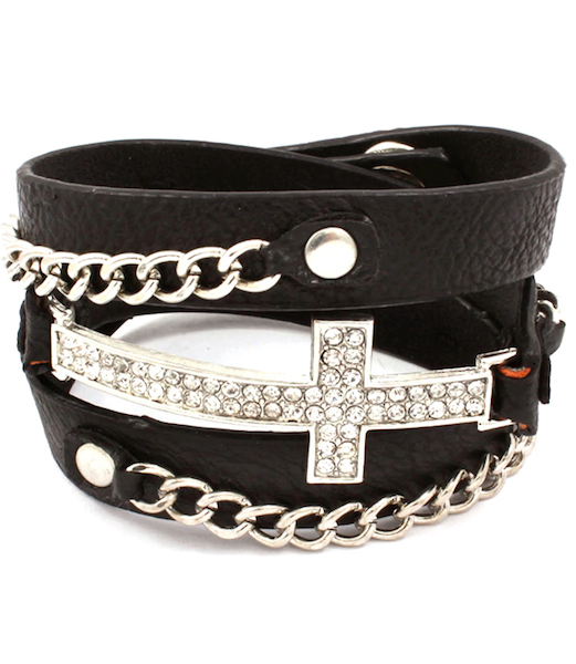 Cross and Chain Wrap Bracelet - Black Band