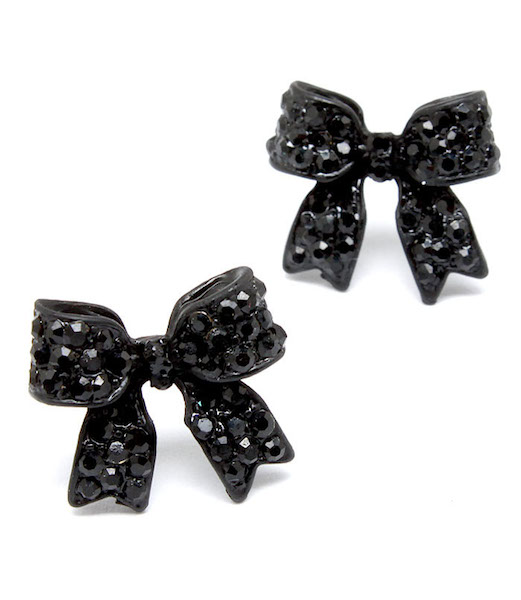 Crystal Bow Post Earrings - Black