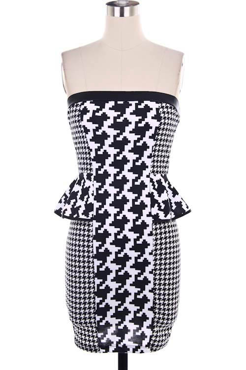 Houndstooth Ponte Peplum Dress