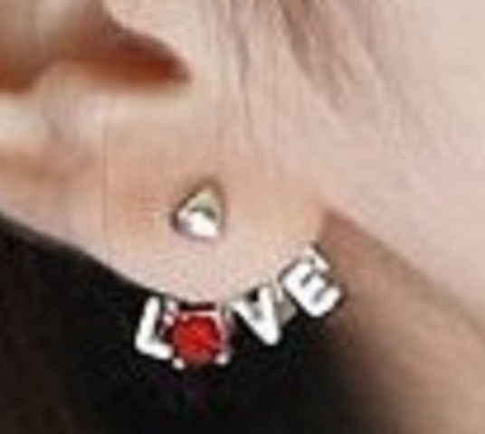 Rhinestone Heart Love Letter Earrings - More Colors