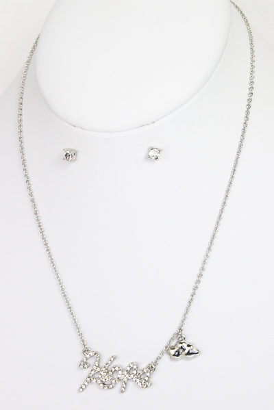 Hope Script Necklace and Earring Set - More Colors