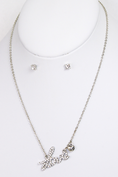 Love Script Necklace and Earring Set - More Colors