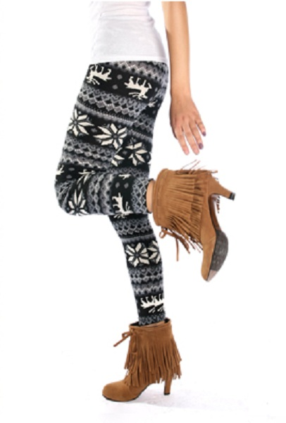Helga Knit Sweater Leggings - Black and White - Click Image to Close