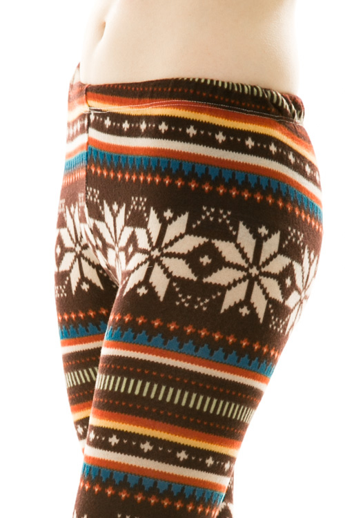 Ingrid Snowflake Leggings - Brown