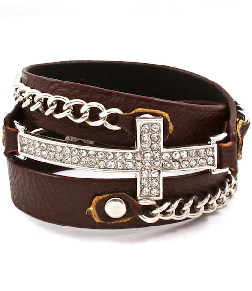 Cross and Chain Wrap Bracelet - Brown Band