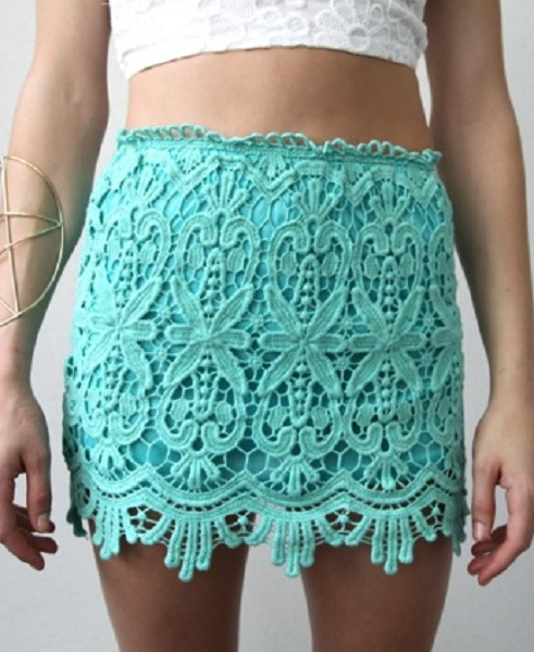 Sydney Lace Mini Skirt - Mint : Ava Adorn: Apparel and Accessories