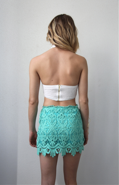 Sydney Lace Mini Skirt - Mint