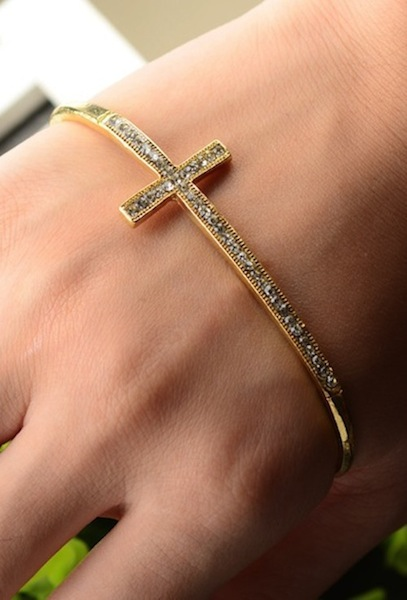 Cross Bangle Hand Bracelet