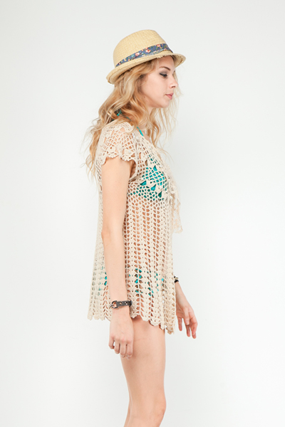 Chrissy Crochet Cardigan Coverup - Click Image to Close