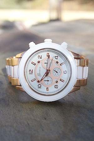 Geneva Rose Gold Chronograph Unisex Watch