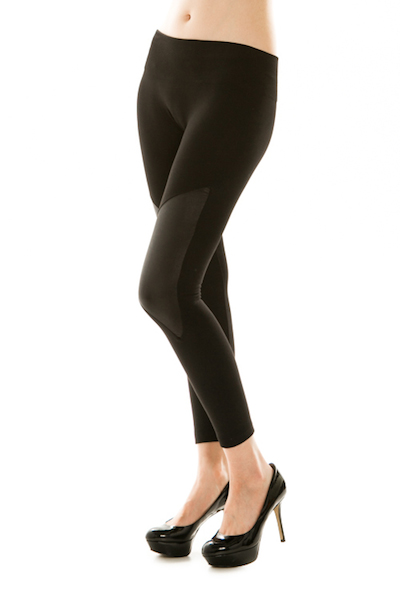 Rock On Leather Knee Fleece Leggings - Click Image to Close