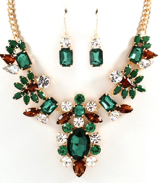 Antoinette Jewel Statement Necklace and Earring Set