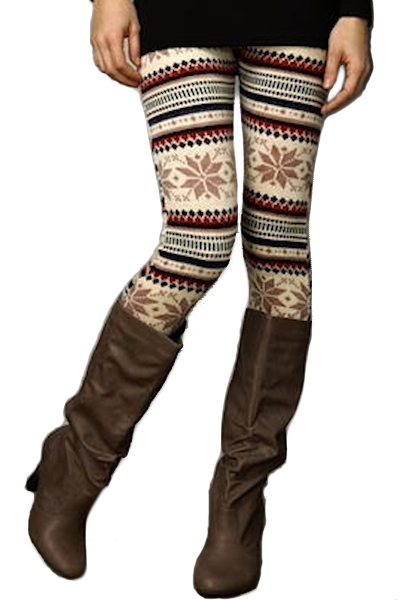 Gretchen Snowflake Leggings - Beige