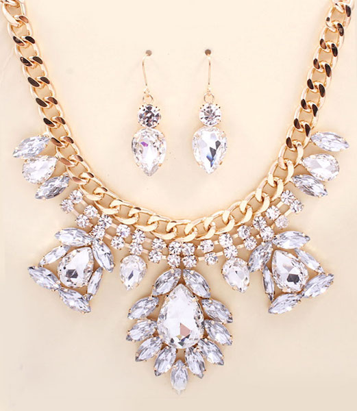 Guinevere Rhinestone Statement Necklace and Earring Set