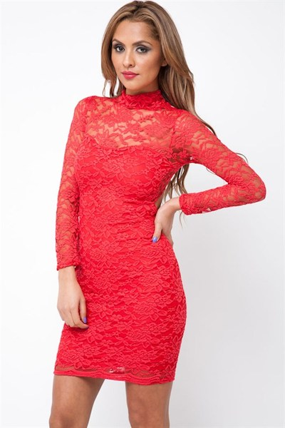 Kitsa Long Sleeve Lace Dress - Click Image to Close