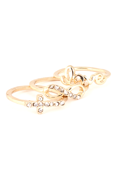 Love, Infinity, and Cross Midi Ring Set - More Colors