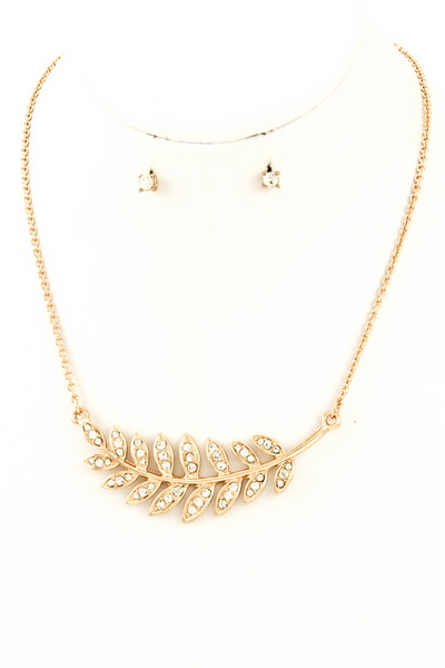 Pave Laurel Leaf Pendant Necklace and Earring Set
