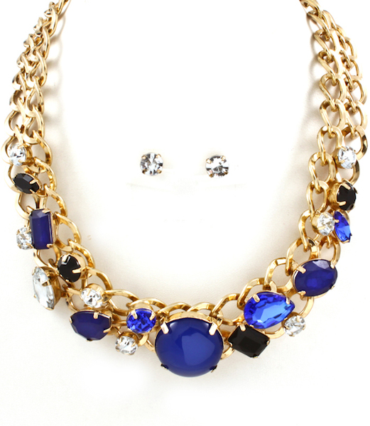 Elizabeth Jewel Necklace and Earring Set - More Colors