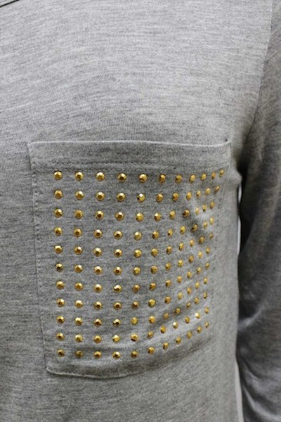 Long Sleeve Shirt w/Rhinestone Pocket - More Colors