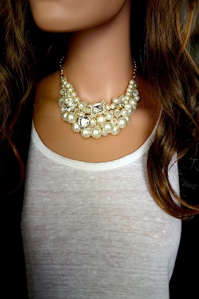 Siren Pearl & Crystal Necklace and Earring Set - Click Image to Close