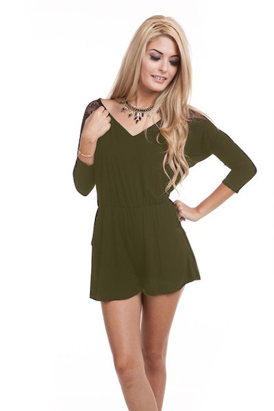 Laura Lace Sleeve Romper - More Colors
