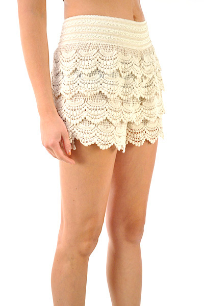 Nikki Tiered Lace Crochet Shorts - More Colors