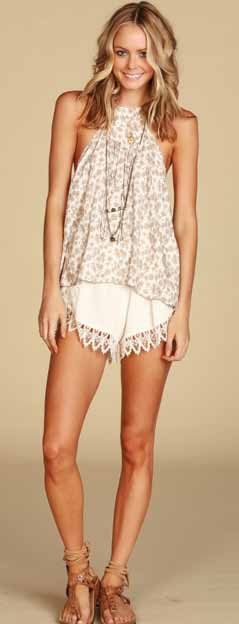 Lucy Love Scallop Lace Shorts - Ivory
