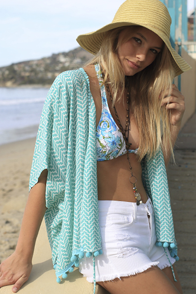 Lucy Love Poncho - Shore Club Print