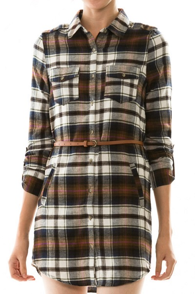 Mad About Plaid Flannel Shift Dress - More Colors