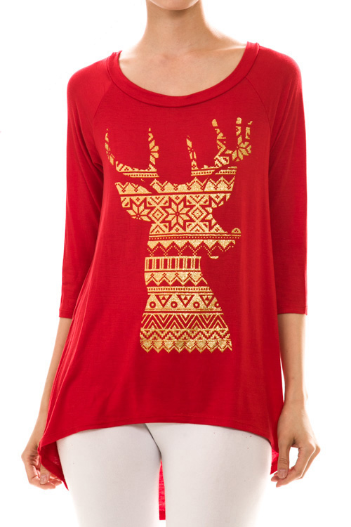 Fair Isle Reindeer Print Top - More Colors : Ava Adorn: Apparel ...
